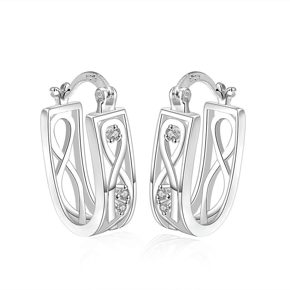 Vienna Jewelry Sterling Silver Infinite Imprint Hoop Earring