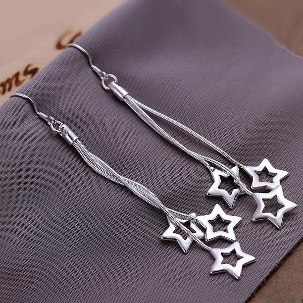 Vienna Jewelry Sterling Silver Multi-Stars Drop Earring - Thumbnail 0
