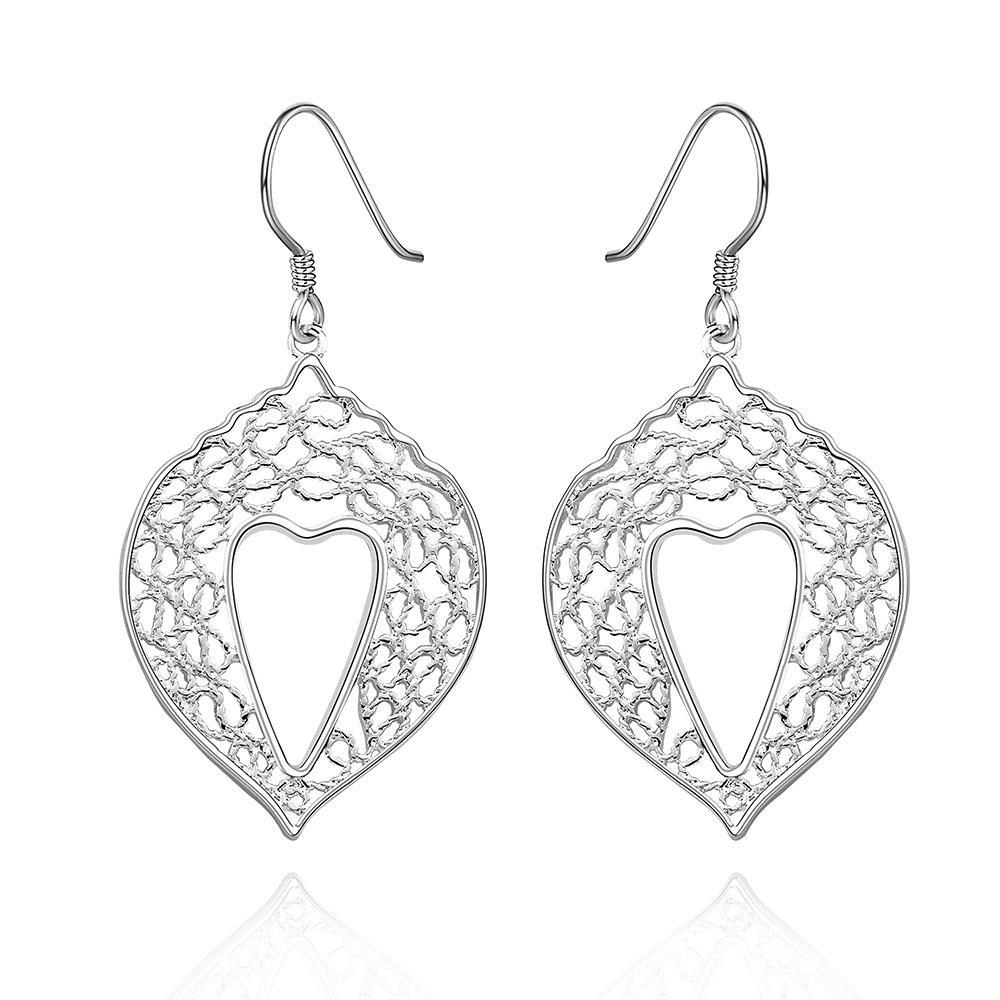 Vienna Jewelry Sterling Silver Laser Cut Drop Lining Classical Earring