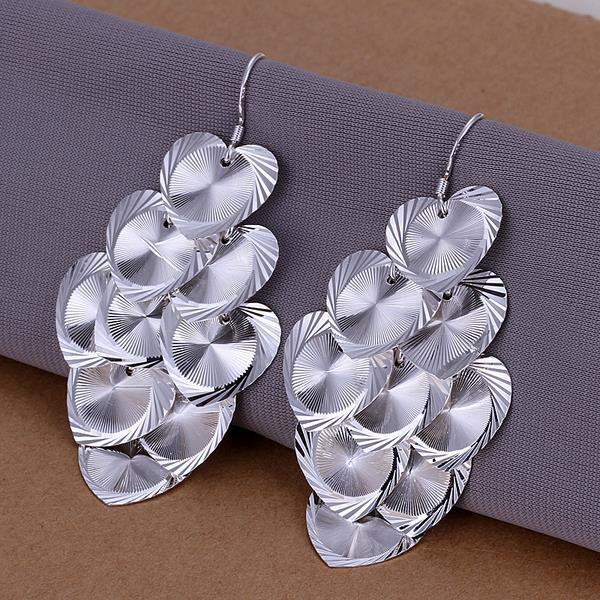 Vienna Jewelry Sterling Silver Drop Heart Plates Earring - Thumbnail 0