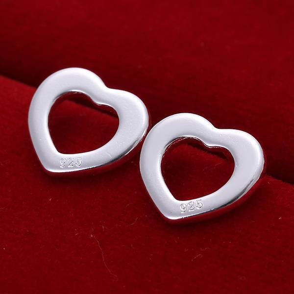 Vienna Jewelry Sterling Silver Heart Shaped Stud Earring - Thumbnail 0