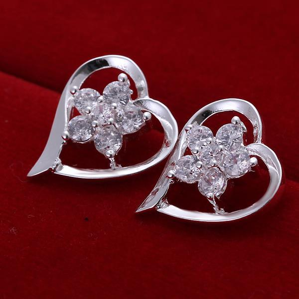 Vienna Jewelry Sterling Silver Angular Heart Shaped with CrystalEarring