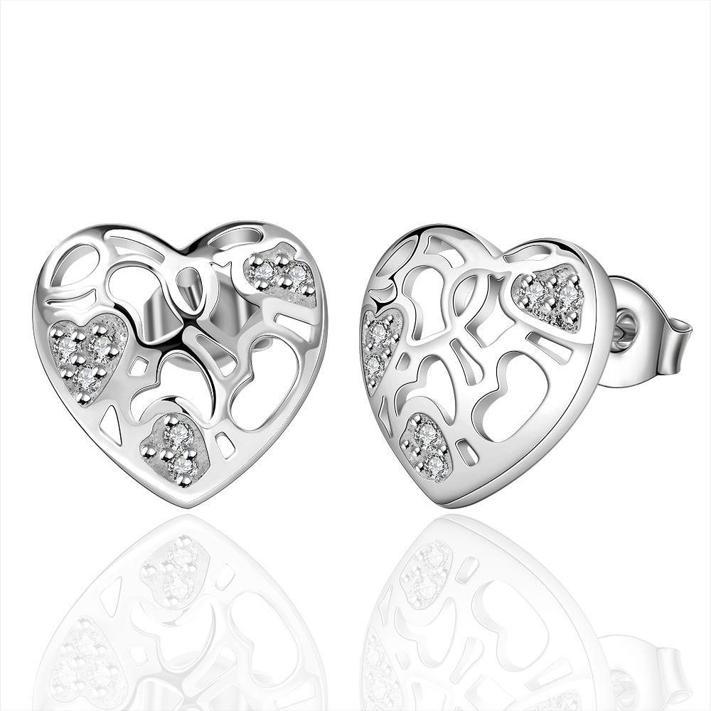 Vienna Jewelry Sterling Silver Laser Cut Floral Inprint Stud Earring