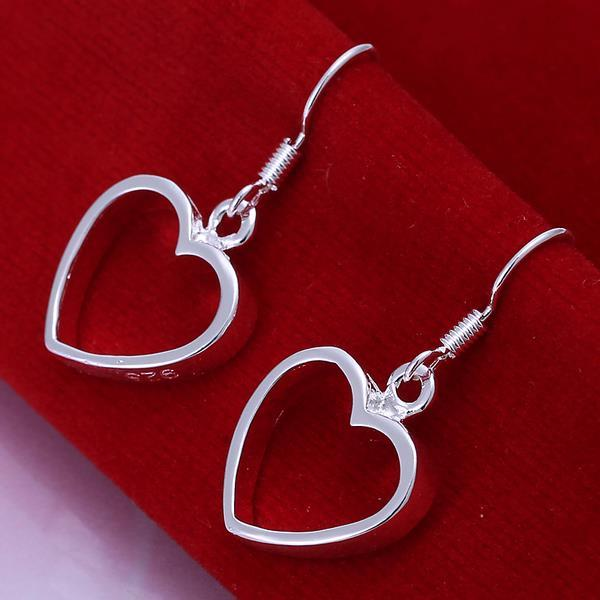 Vienna Jewelry Sterling Silver Hollow Hearts Drop Earring