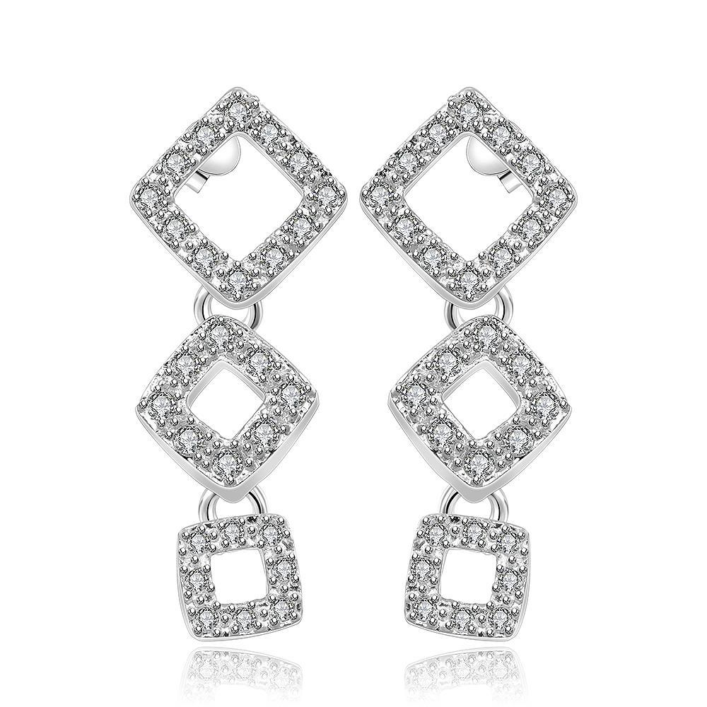 Vienna Jewelry Sterling Silver Trio-Square Abstract Earring
