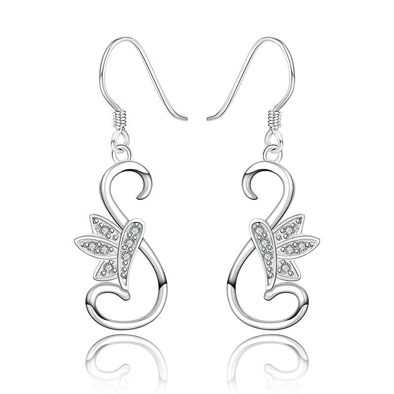 Vienna Jewelry Sterling Silver Curved Peacefull Dove Drop Earring