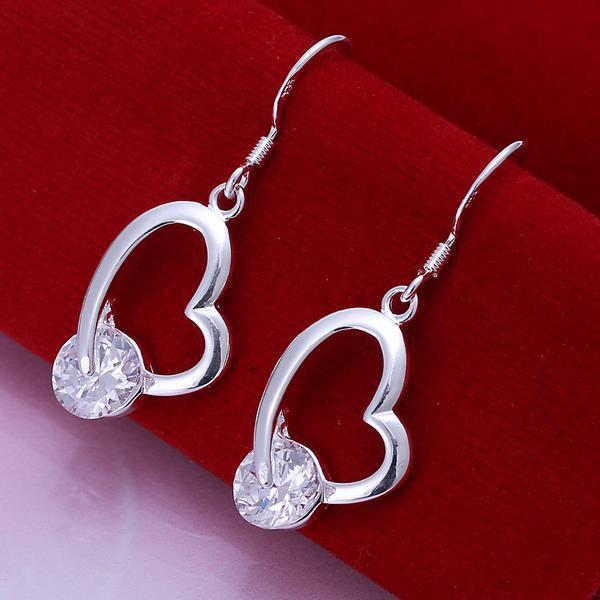 Vienna Jewelry Sterling Silver Heart Shaped Drop Earring with Crystal Stone
