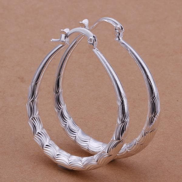 Vienna Jewelry Sterling Silver Modern & Abstract Hoop Earring