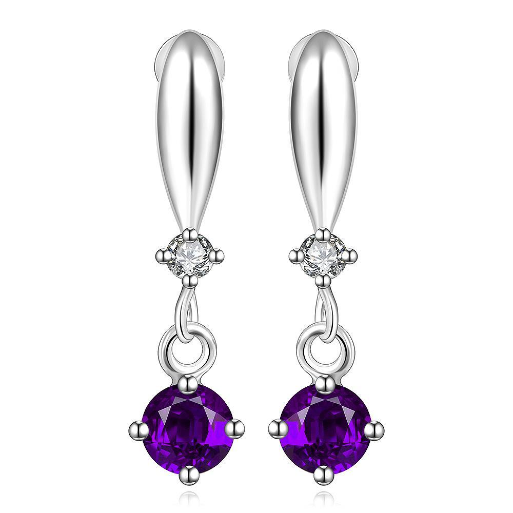 Vienna Jewelry Sterling Silver Purple Citrine Gem Vertical Drop Earring