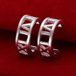 Vienna Jewelry Sterling Silver Roman Numerals Ingrained Earring - Thumbnail 0