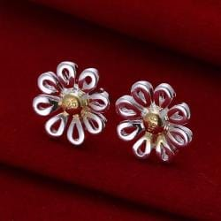 Vienna Jewelry Sterling Silver Laser Cut Floral Petal Studs - Thumbnail 0