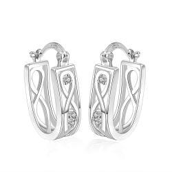 Vienna Jewelry Sterling Silver Infinite Imprint Hoop Earring - Thumbnail 0