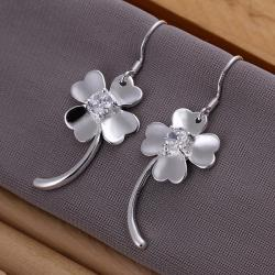 Vienna Jewelry Sterling Silver Curved Clover Earring - Thumbnail 0