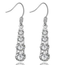Vienna Jewelry Sterling Silver Multi-Crystal Chandelier Drop Earring - Thumbnail 0