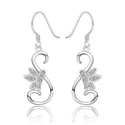 Vienna Jewelry Sterling Silver Curved Peacefull Dove Drop Earring - Thumbnail 0