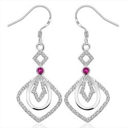 Vienna Jewelry Sterling Silver Drop Drop Square Earring - Thumbnail 0