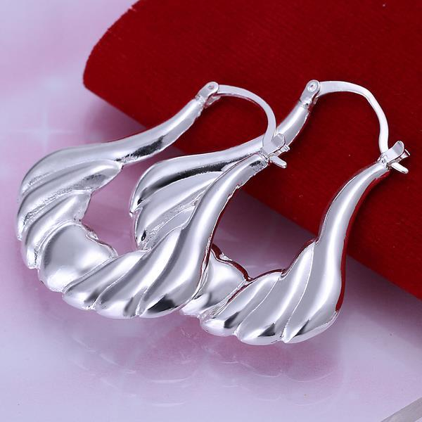 Vienna Jewelry Sterling Silver Seashell Design Hoops