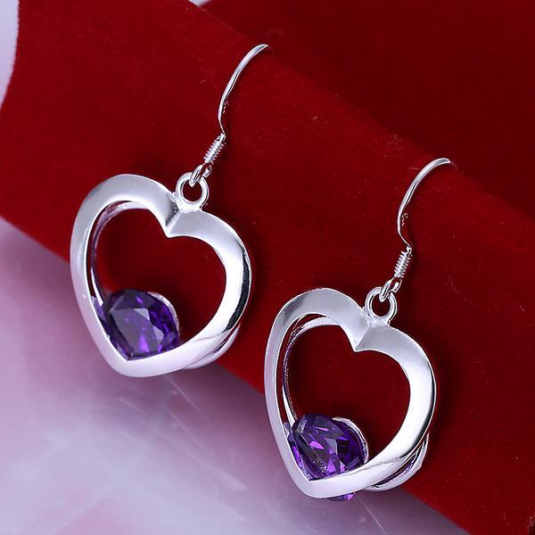 Vienna Jewelry Sterling Silver Hollow Hearts with Sapphire Gem Earring