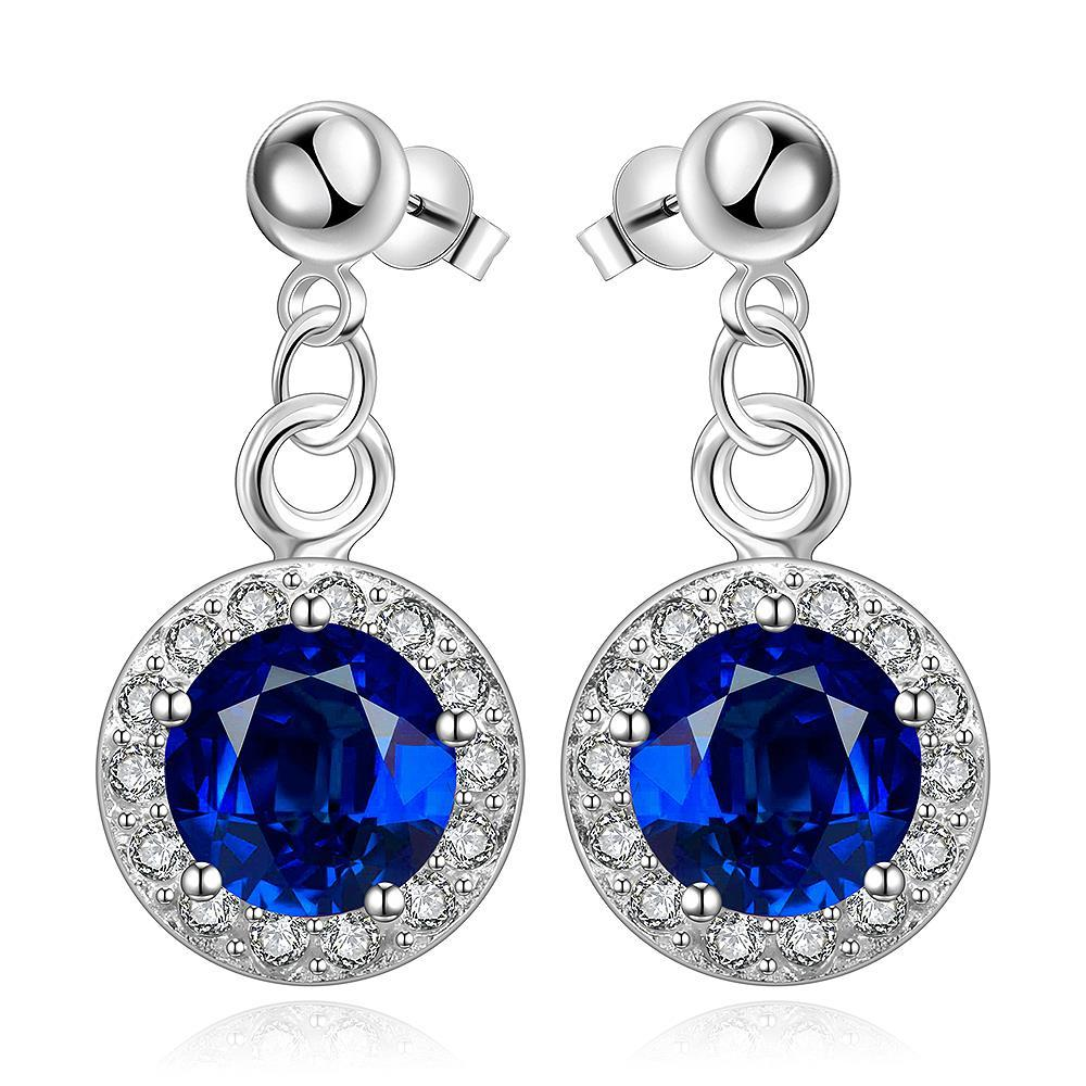 Vienna Jewelry Sterling Silver Circular Sapphire Pendant Drop Earring