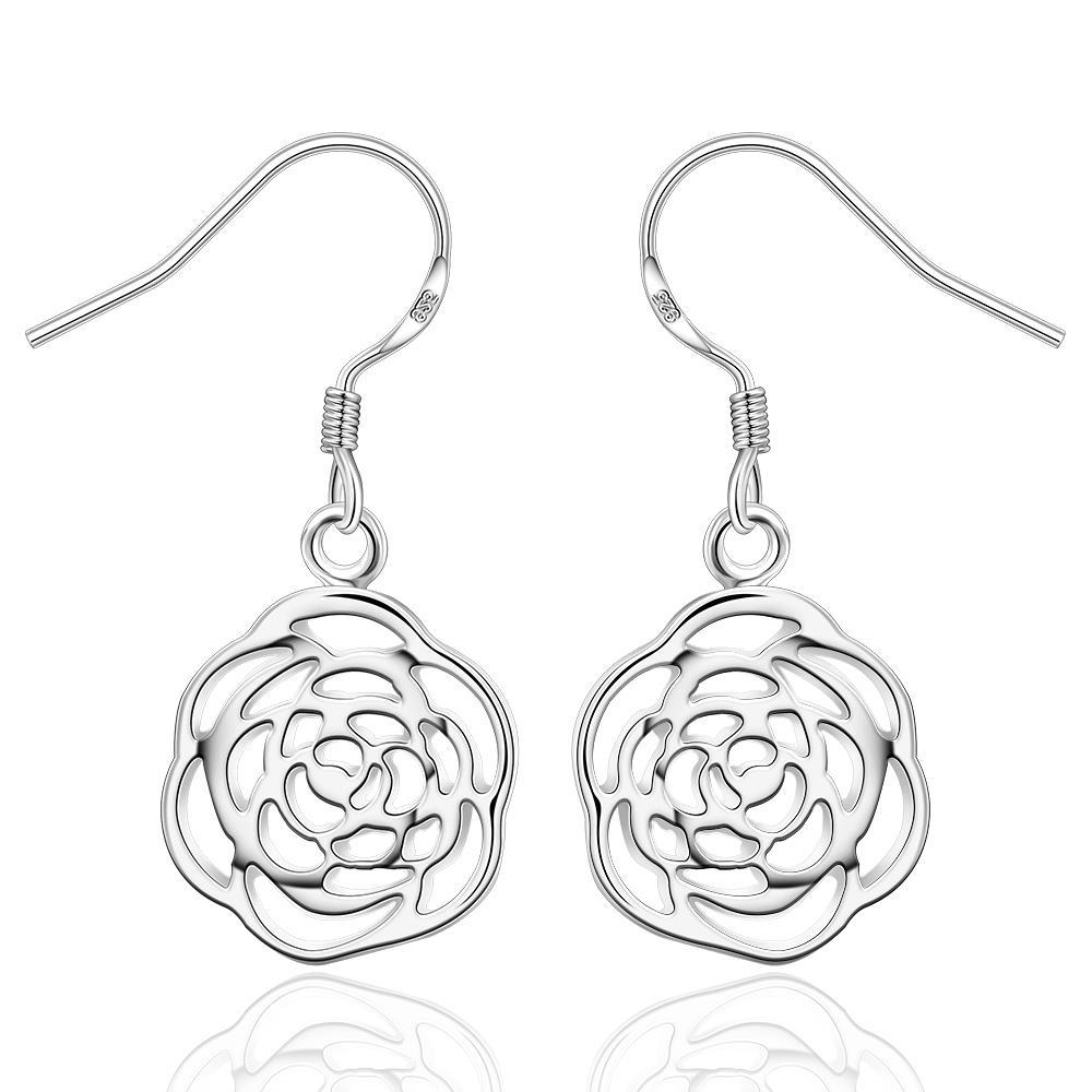 Vienna Jewelry Sterling Silver Laser Cut Spiral Floral Drop Earring