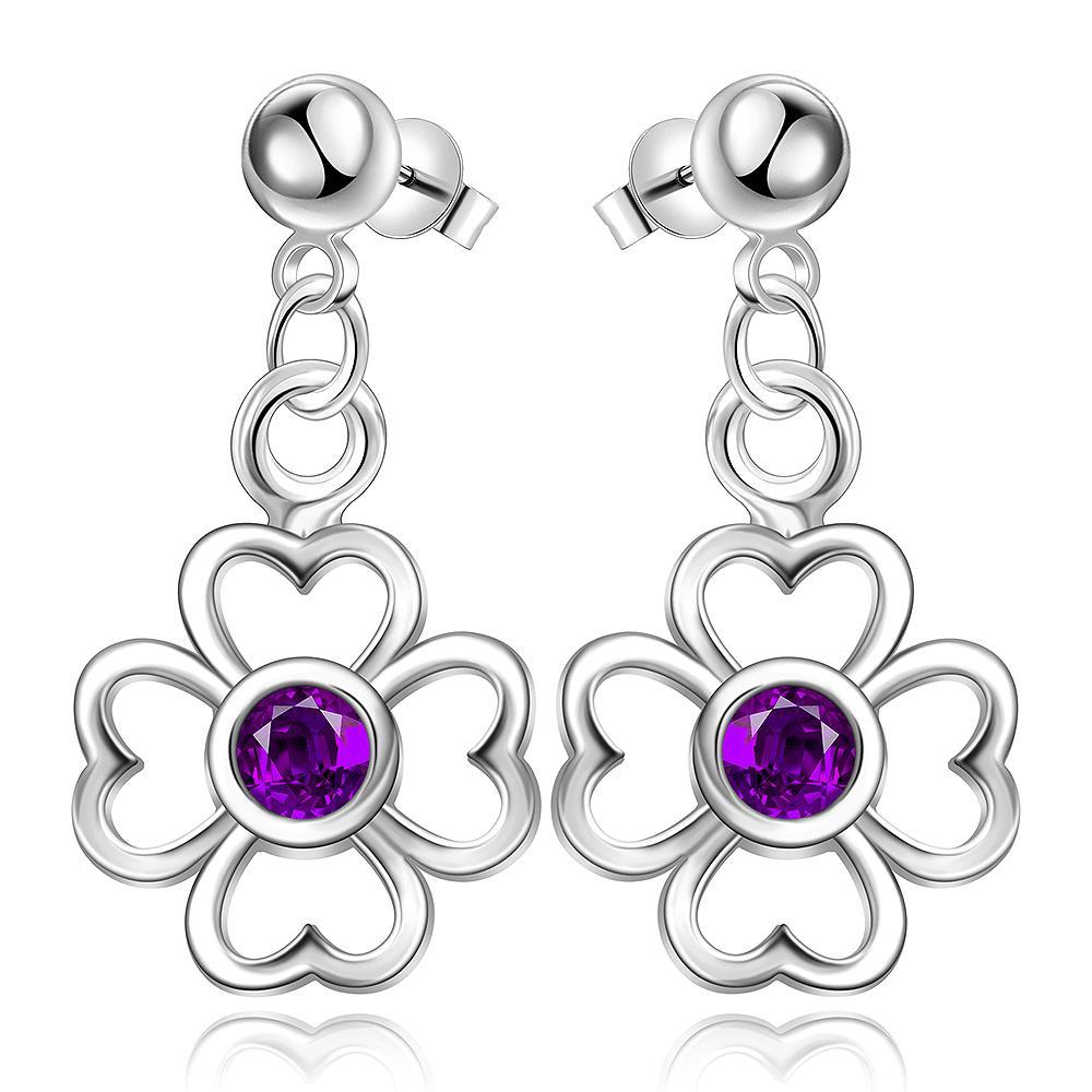 Vienna Jewelry Sterling Silver Hollow Clover with Purple Citrine Drop Earring