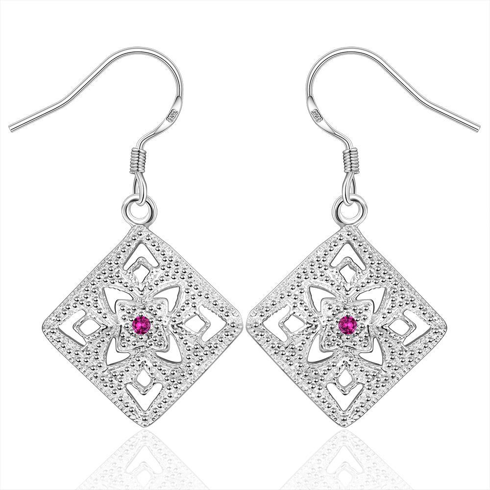 Vienna Jewelry Sterling Silver Laser Cut Diamond Shaped Earring