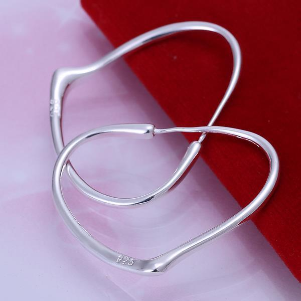 Vienna Jewelry Sterling Silver Angular Curved Hoops