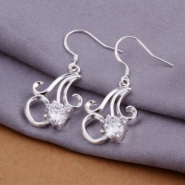 Vienna Jewelry Sterling Silver Twisted Curved Abstract Earring