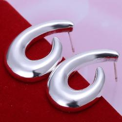 Vienna Jewelry Sterling Silver Abstract Angular Hoops - Thumbnail 0