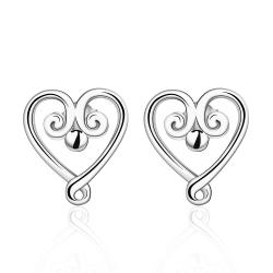 Vienna Jewelry Sterling Silver Pearl Curved Heart Shaped Earring - Thumbnail 0