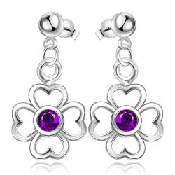 Vienna Jewelry Sterling Silver Hollow Clover with Purple Citrine Drop Earring - Thumbnail 0