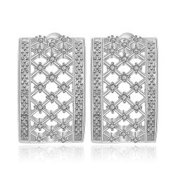 Vienna Jewelry Sterling Silver Hollow Geometric Stones Earring - Thumbnail 0