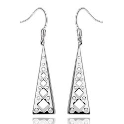Vienna Jewelry Sterling Silver Laser Cut Vertical Pyramid Drop Earring - Thumbnail 0