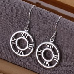Vienna Jewelry Sterling Silver Roman Numerals Drop Earring - Thumbnail 0
