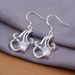 Vienna Jewelry Sterling Silver Twisted Curved Abstract Earring - Thumbnail 0