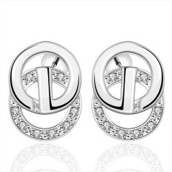 Vienna Jewelry Sterling Silver Duo-Circular Stud Earring - Thumbnail 0