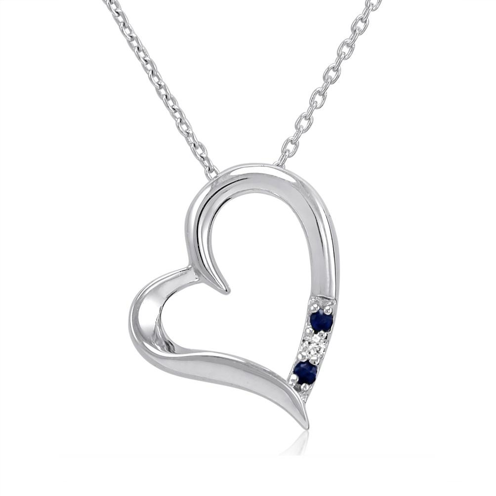 Amanda Rose Three Stone Sapphire and Diamond Heart Pendant-Necklace in Sterling Silver