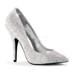 Women's Pleaser Seduce 420RS Silver Satin