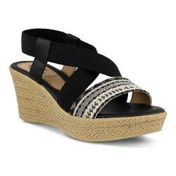 Women's Spring Step Beach Wedge Sandal Black Multi Elastic/Textile