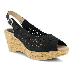 Women's Spring Step Chaya Wedge Sandal Black Nubuck