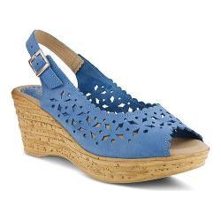 Women's Spring Step Chaya Wedge Sandal Cobalt Blue Nubuck