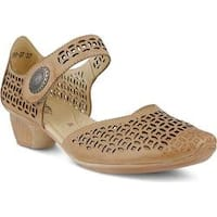 Women's Spring Step Macaw Closed Toe Sandal Beige Leather