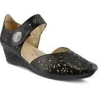Women's Spring Step Nougat Closed Toe Sandal Black Leather