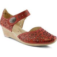 Women's Spring Step Nougat Closed Toe Sandal Red Leather