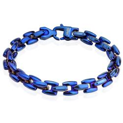 Stainless Steel Blue Plated Scale Link Bracelet - 8.75 Inches (9 mm) - 9 in