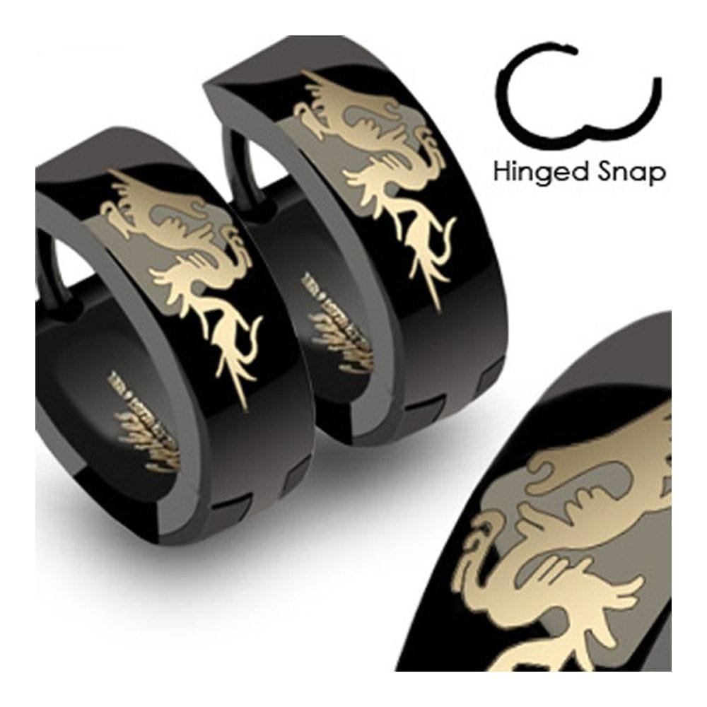 Stainless Steel Black Hinged Hoop Earrings with Dragon (Sold in Pairs) - Thumbnail 0