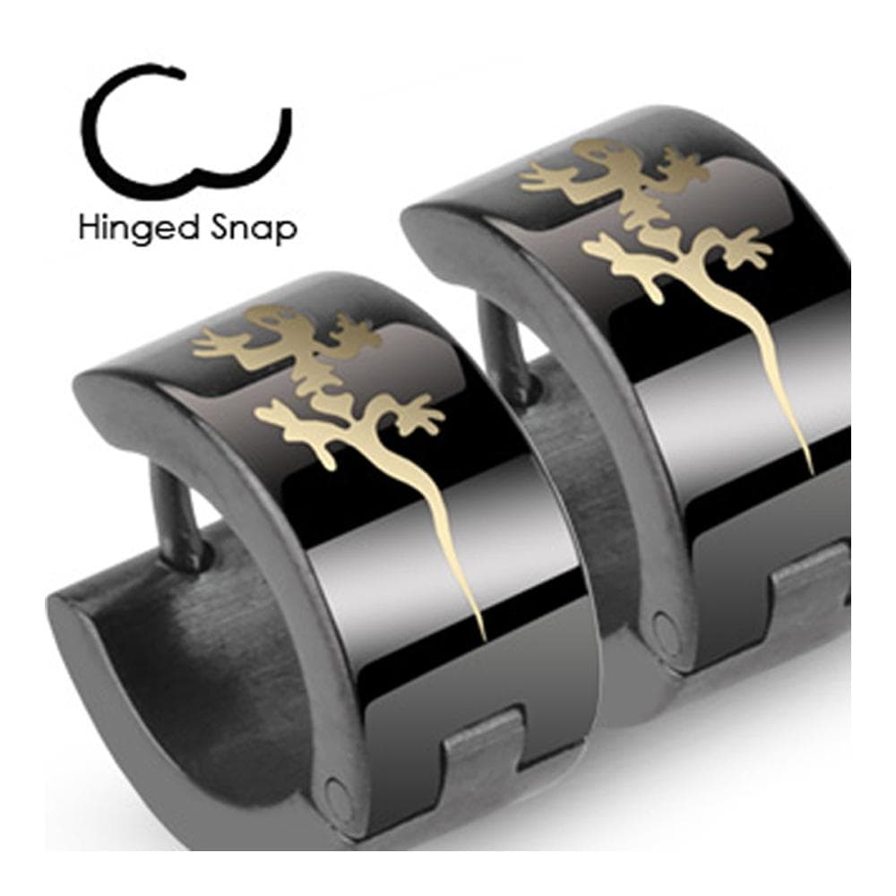 Stainless Steel Black Hinged Hoop Wide Earrings with Tribal Gecko