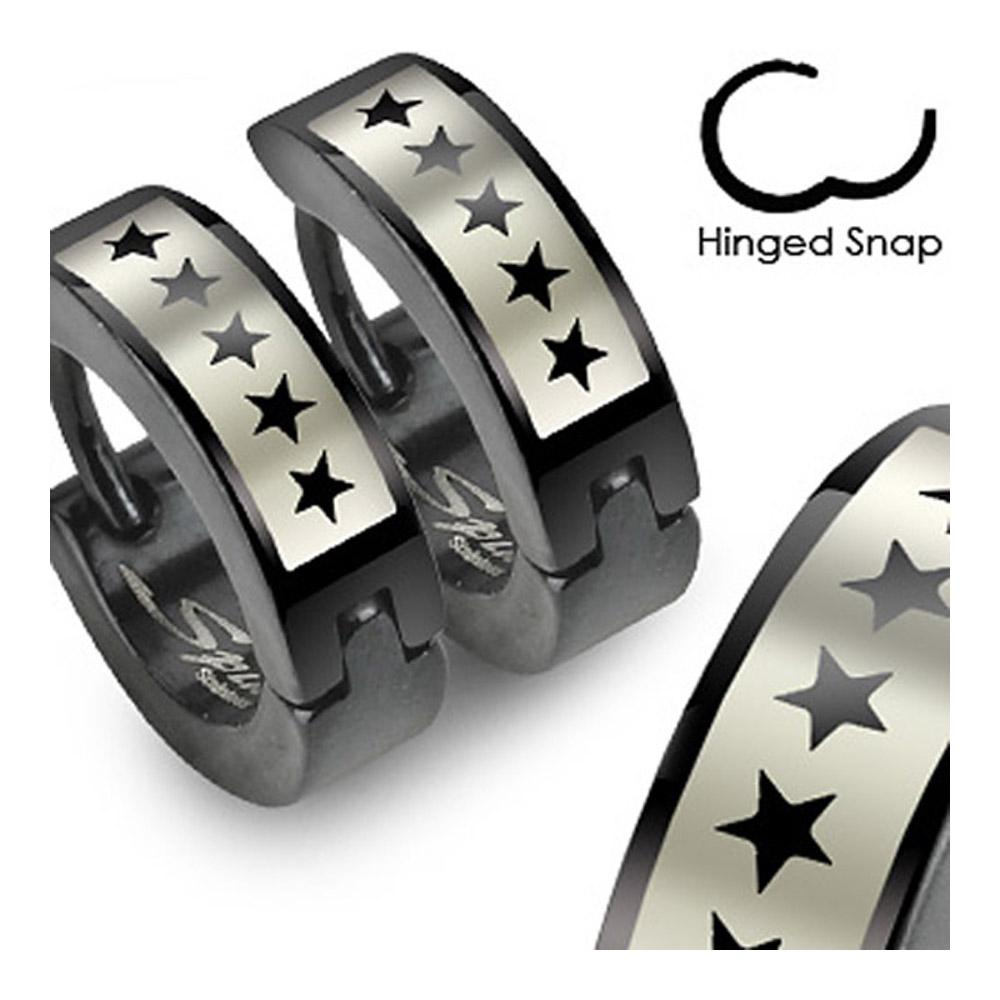 Stainless Steel Black Hinged Hoop Earrings with 5 Star Logo Print