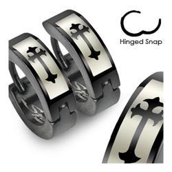 Stainless Steel Black Hinged Hoop Earrings with Gothic Medieval Cross Print - Thumbnail 0