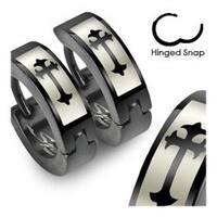 Stainless Steel Black Hinged Hoop Earrings with Gothic Medieval Cross Print